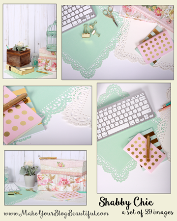 A set of 29 shabby chic sytled stock photos